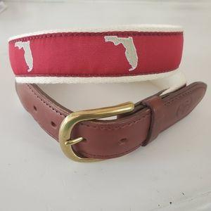 Florida State belt leather, brass & fabric size 32